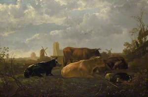 A Distant View of Dordrecht, with a Sleeping Herdsman and Five Cows ('The Small Dort')