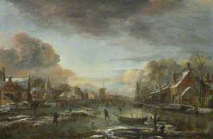A Frozen River by a Town at Evening