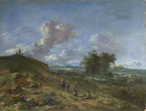 A Landscape with a High Dune and Peasants on a Road