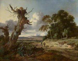 A Landscape with Two Dead Trees, and Two Sportsmen with Dogs on a Sandy Road