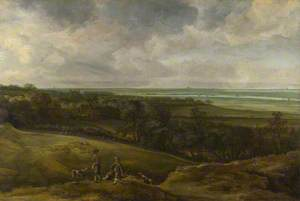 An Extensive River Landscape, with Two Sportsmen and their Greyhounds