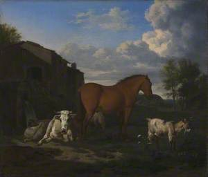 A Bay Horse, a Cow, a Goat and Three Sheep near a Building