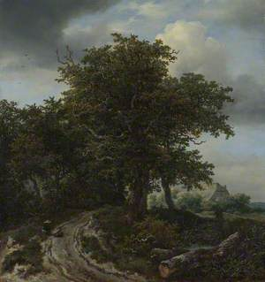 A Road winding between Trees towards a Distant Cottage