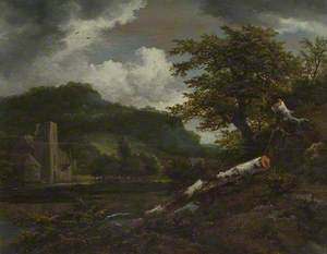 A Landscape with a Ruined Building at the Foot of a Hill by a River