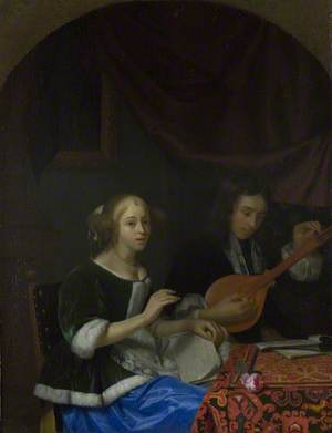 A Woman singing and a Man with a Cittern