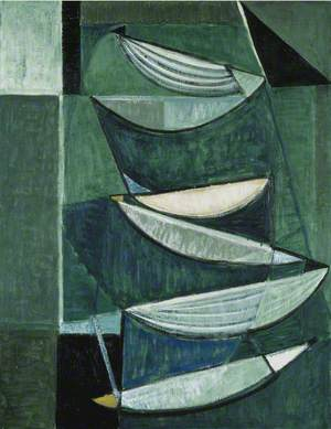Black and White Movement on Blue and Green II