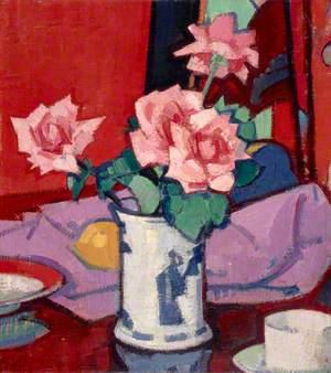 Pink Roses, Chinese Vase