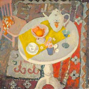 Still Life with Teapot on Round Table