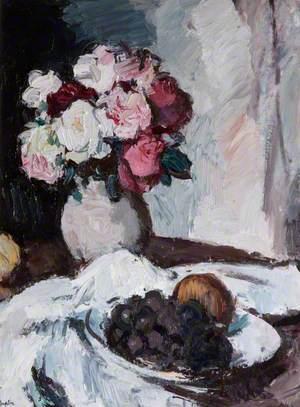 Roses in a Grey Jar