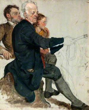 Two Seated Men and a Standing Boy (Study for 'The Covenanters' Baptism')