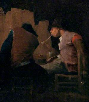 Two Peasants Smoking by a Fire ('Silent Companions')
