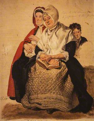Two Women and a Boy (Study for 'The Covenanters Preaching')