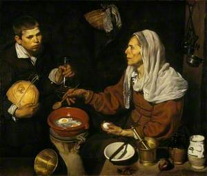 An Old Woman Cooking Eggs