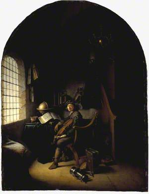 An Interior with a Young Violinist