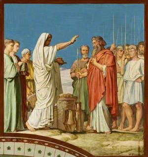 Melchisédech offrant du pain et du vin, bénit Abraham