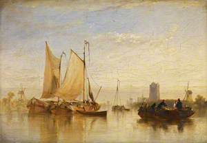 Passage Boats Becalmed on the Maas at Dort