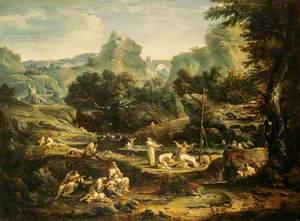 Landscape with Monks