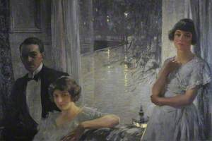 Stanley Cursiter (1887–1976), Artist, Self Portrait, Director of the National Galleries of Scotland, with his Wife Phyllis Eda Hourston, and his Model, Poppy Low, Chez Nous