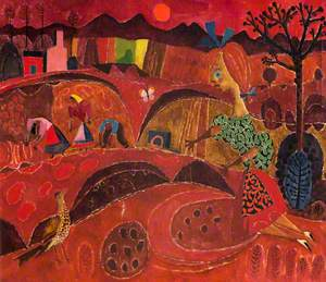 Girl and Bird in a Red Landscape*