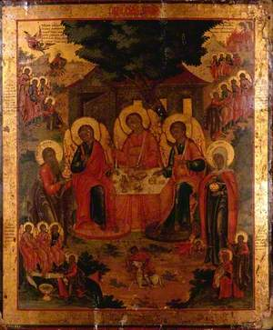 Icon with the Old Testament Trinity : Abraham Entertaining the Angels