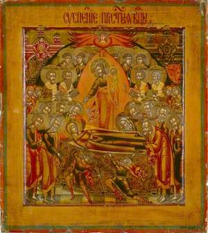 Icon with Dormition of the Virgin