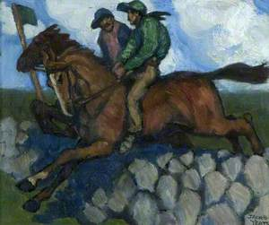Untitled (Two Jockeys on Horses, Leaping a Stone Wall)