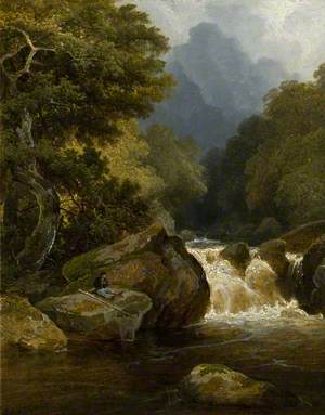 Wooded Glen with an Angler