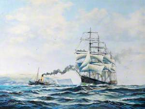 Clipper and Steamboat at Sea