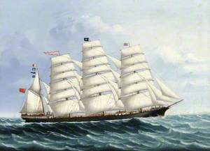 The Four-Masted Schooner 'Lord Wolseley' at Sea, under Full Sail