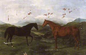 Two Hunting Horses in a Landscape