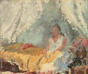 Woman Sitting on a Bed