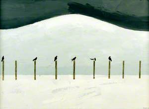 From Windy Hill XVII Five Rooks and a Magpie Sitting on My Fence