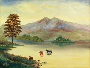 Capriccio Landscape with Highland Cattle in a Lake