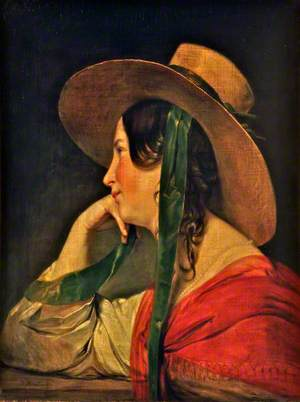 A Lady in a Large Straw Hat
