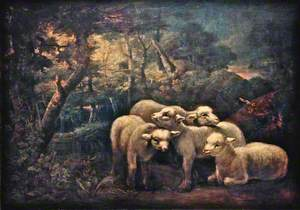 A Forest Scene with Four Lambs