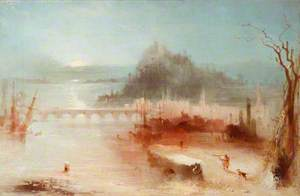 A Town on the Rhine, with a Bridge and a Castle on a Height – Sunrise