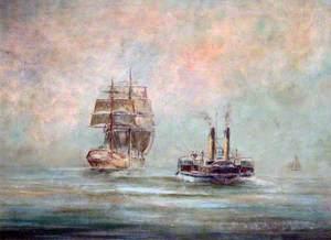 Paddle Tug Aproaching a Sailing Vessel