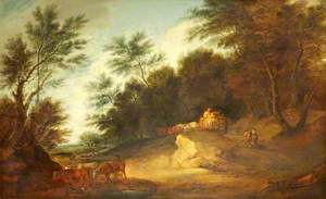 Wooded Landscape with Figures in a Country Cart and Cattle