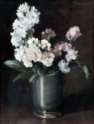 Pink and White Stocks in a Pewter Vase