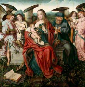 Holy Family with Music-Making Angels