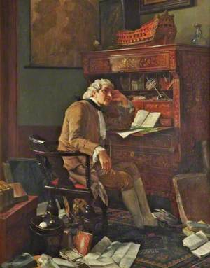Writer in Eighteenth-Century Dress Seated at a Desk