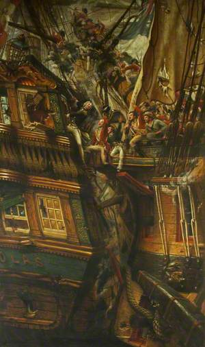 Nelson Capturing a Spanish Ship at the Battle of St Vincent