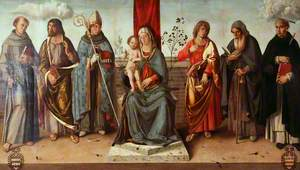 Virgin and Child Enthroned with Saints Francis, Matthew, Louis of Toulouse (left), John the Evangelist, Anthony Abbot and Peter Martyr (right)