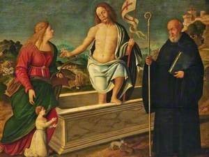 The Resurrection with Saint Catherine of Alexandria, Saint Benedict and a Female Donor