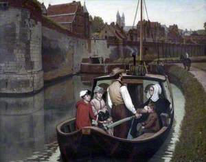 Under the Walls of Maestricht: Arrival of a Canal Boat