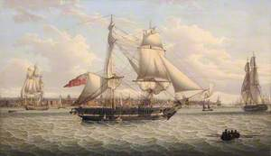 A Sailing Ship in the Mersey