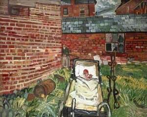 Baby in a Pram in a Garden