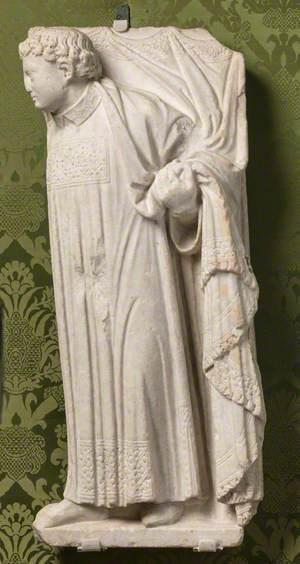 A Deacon Holding a Curtain