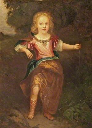 Portrait of a Boy in Classical Dress with a Bow and Arrow
