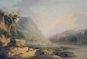 Mountain Landscape with Cattle on a Lakeside Path